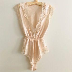 Vintage Eve Stillman lingerie teddy satin lace S